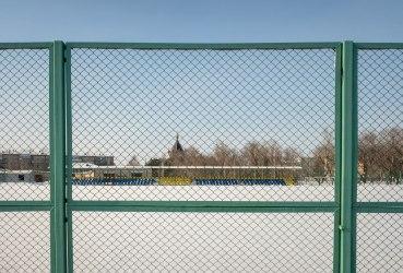 Забор из сетки-рабицы секционный